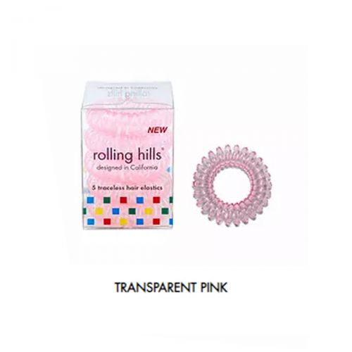 Rolling Hills Professional Classic Hair Rings 12pc Transparent Pink